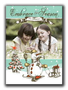Image of Vintage Snowman Photo Card