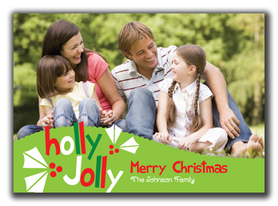Image of Whimsical Holly Jolly Photo Card